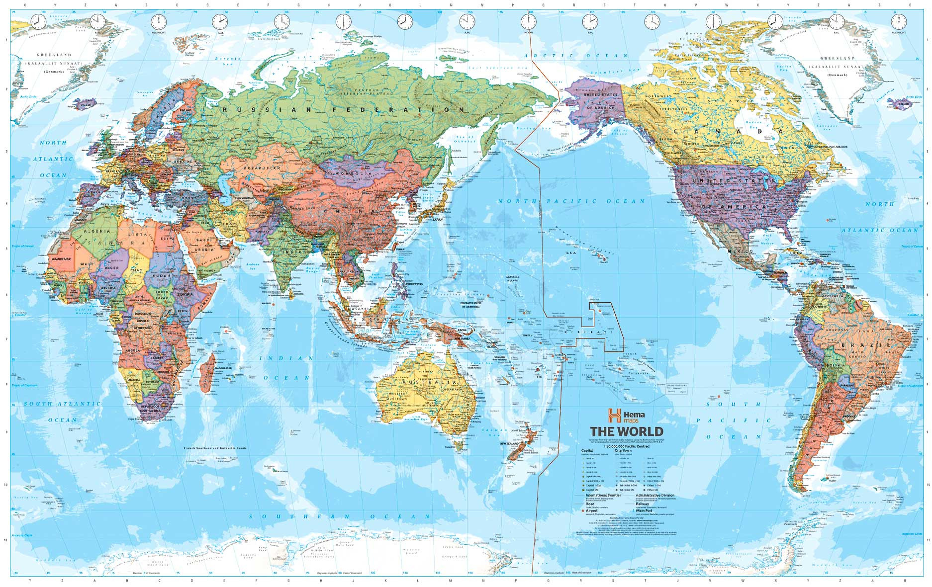 World Map With The Pacific Ocean In The Middle